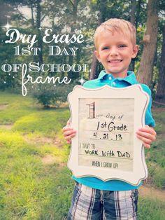"DIY Dry Erase ""First Day of School"" Frame  + Free Printable #MichaelsBTS"