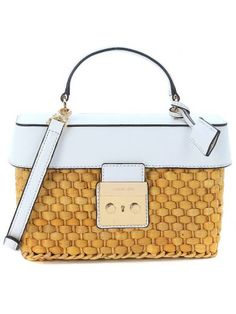 7b3cde28a03ed MICHAEL KORS Michael Kors Straw Gabriella Handle Bag In Woven Straw And  White Leather.  michaelkors  bags  shoulder bags  hand bags  leather   lining