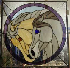 """Horses: Stained Glass Panel"