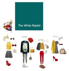 """""""Disney Bound: The White Rabbit from Alice in Wonderland"""" by the-shadowrider on Polyvore featuring Disney, Live the Process, Hot Topic, BCBGMAXAZRIA, ZeroUV, Versace Jeans Couture, Liliana, Luichiny, Jack & Jones and Toast"""