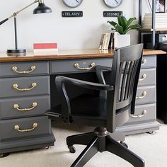 An antique desk needed an update. A little bit of polish and a wonderful grey paint brought out the modern sophistication of this piece. Craving Some Creativity featured on Kenarry.com