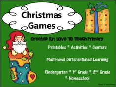 This is an awesome collection of Christmas games.   Use them individually as worksheets, put them into sheet protectors to use with wipe off  markers, or use them on an interactive whiteboard for a whole class activity.  More December Products   More Seasonal Games