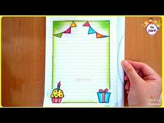 تزيين الدفاتر المدرسية من الداخل للبنات والولاد خطوة بخطوة تسطير الكراسة برسم كب كيك تزيين سهل Page Borders Design Framed Flower Art Colorful Borders Design