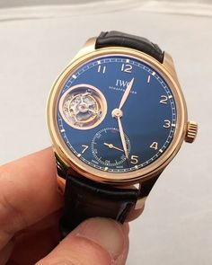 REPOST!!!  Great one by IWC... lovely tourbillon and the blue dial is absolutely gorgeous. Matches so well with the red gold case #iwc  #iwcwatches #iwcschaffhausen #patekcollector #tourbillon #relojes #orologio #wristwatch #wristwatches #wristporn #watchporn #watch #watches #watchs #chronograph #chrono #watchmen #watchaddict #watchgeek #wristshot #wristshots #watchoftheday #watchesofinstagram #watchesgrade #montre #montres #uhren #uhr #hodinkee #ablogtowatch  Photo Credit: Instagram ID…
