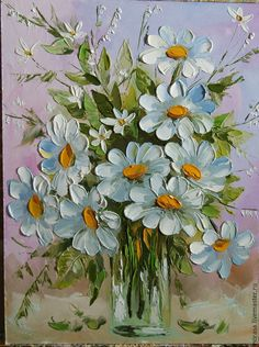 Daisy flower painting, so pretty! Palette knife painting, Impasto.