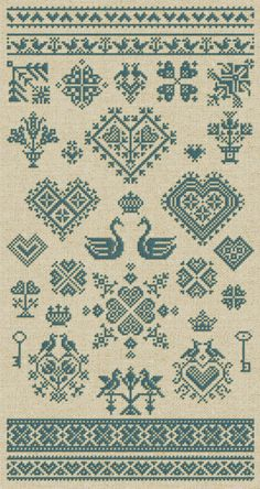 Here is a perfectly Danish-inspired cross stitch #embroidery design sampler: hearts and swans! 'Lots of Love - 32 Hearts  Other Romantic Ornaments' is an instant Download PDF Booklet via Etsy