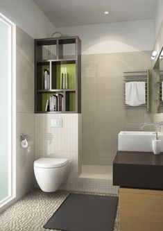 Bookcase backed in glass as shower divider  open up the room with useful storage/decor  petite SDB