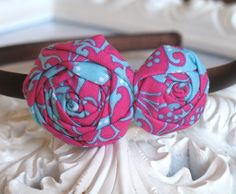 Hot pink and turquoise headband