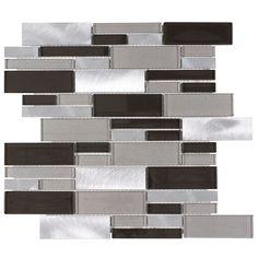 Aluminum Glass Tile Backsplash Carbon Blend   Mineral Tiles