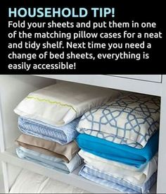Love this idea.  Fold sheets and matching bedding into pillowcase!