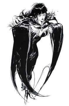 Final Fantasy II - Vampiress Concept Art - Yoshitaka Amano