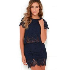 Turn Back Time Navy Blue Lace Two-Piece Dress ($62) ❤ liked on Polyvore featuring dresses, blue, 2 piece dress, lace dress, long sleeve short dress, two piece dresses and lulu's dresses