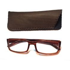 2.50 Reading Glasses Brown Hounds Tooth With Case