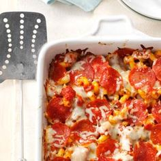 Pizza Pasta Casserole Recipe from Taste of Home -- shared by Nancy Scarlett of Graham, North Carolina  #freezer_meal  #make_ahead