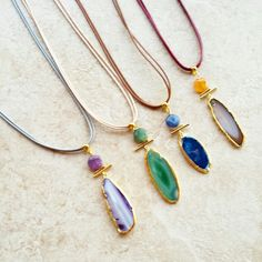 Necklaces with agate natural stone
