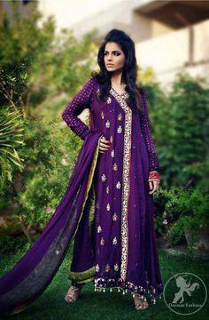 Purple Aline Casual Andrakha Style Dress