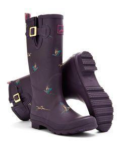 Purple Painty Pheasant Wellyprint Womens Print Rain Boot Wellies | Joules US