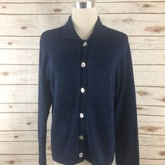 Women's Boden BLUE CARDIGAN 100% Cotton Knit Mother of Pearl Buttons Size 12 EUC  | eBay
