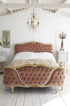 antique bed...i would have dove gray upholstery instead of the rose color...like the gold highlights
