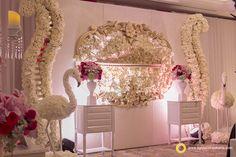 Beautiful swan in your wedding foyer. Decorated by Grasida Decoration and lighting by Lightworks at Shangri-La Hotel Jakarta.  www.lightworksjakarta.com
