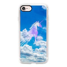 Blue sky white dream clouds magical pink unicorn - iPhone 7 Case,... (1,855 DOP) ❤ liked on Polyvore featuring accessories, tech accessories, iphone case, iphone cover case, pink iphone case, iphone hard case, iphone cases and apple iphone case