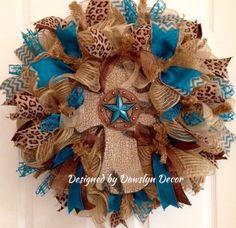 Deco Mesh Wreath Burlap Wreath Western Wreath by DawslynDecor