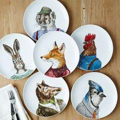Dapper Animal Plates #West Elm