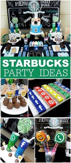 Love this Starbucks Party. ( I do love Starbucks too, so it's just perfect. 13th Birthday Parties, Birthday Party For Teens, 14th Birthday, Sleepover Party, Birthday Party Themes, Teen Birthday, Teen Party Themes, Birthday Ideas, Birthday Gifts