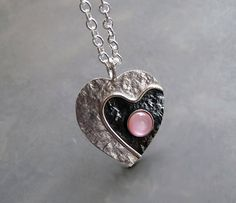 Sterling silver heart necklace with pink mother of pearl - Heart necklace - Silver jewellery - Handcrafted