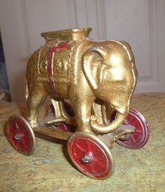 ELEPHANT~A.C. Williams Elephant Bank on Wheels