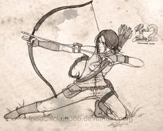 The Hunger Games fan art of Katniss Everdeen Hunger Games Fandom, Hunger Games Trilogy, The Hunger Games, Hunger Games Drawings, Katniss Everdeen, Art Drawings Sketches, Epic Drawings, Drawing Reference, Character Art