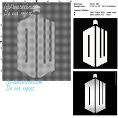 Logo Doctor Who free cross stitch pattern 60x69 2 colors