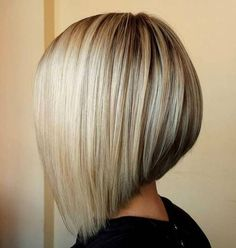 angled blonde bob with lowlights
