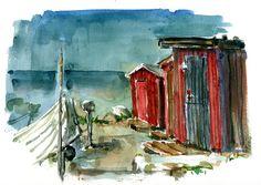 Watercolor Old Boat Houses, along the Baltic Sea, Bornholm Denmark  #HikingArtist