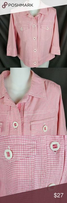 "Ruby Rd Checkered Jacket Pink White Sz 10 Comfort stretch and super cute!! Like new condition. Smoke free. See all 7 pics for details. Sz. 10. Chest around at underarms 42"". Bottom hem 42"" around with 2"" slits on the sides. Length from shoulder 20"". Sleeve from neck 21"". Smoke free. No holes or stains. CT8 Ruby Rd. Jackets & Coats"