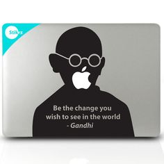 "Macbook Sticker - removable mac decal   Gandhi quote -""Be the change you with to see in the world"""