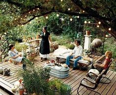 wooden deck under the trees
