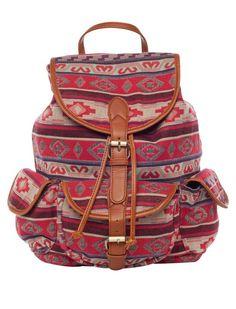 I love the Street Level Aztec Print Backpack from LittleBlackBag Aztec Backpacks, Teen Backpacks, Leather Backpacks, School Backpacks, Leather Bags, Tribal Trends, Aztec Tribal Patterns, Red Street, Backpack For Teens