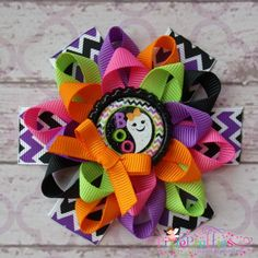 Boo Ghost Loopy Flower Bow-halloween, 1st halloween, pumpkin, hairbow, hair bow, hair clip, bottlecap, bottle cap, custom, black, green, orange, purple, glitter, zebra, pink, yellow, white, candy, ghost, chevron
