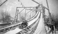 Winter Carnival toboggan slide, St. Paul, 1917......There was a toboggan slide similar to this which shot out over the frozen Red River in Grand Forks, N.D.  I went on it once but was too little to love it...too scary...(We lived in East Grand Forks, Minn. -- across the river) ...Pat