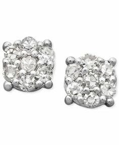 Diamond Earrings, 14k White Gold Diamond Cluster Stud Earrings (1/10 ct. t.w.) Jewelry & Watches FINE JEWELRY - Earrings'