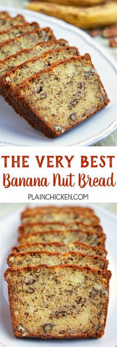 The Very Best Banana Nut Bread - CRAZY good! butter, sugar, eggs, flour, baking soda, buttermilk, ripe bananas and pecans - SO easy to make. Tastes amazing. Great for breakfast or an afternoon snack.