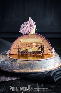 муссовый торт рецепт, евроторт с зеркальной глазурью рецепт, как приготовить муссовый торт, торт с зеркальной глазурью шоколад карамель банан