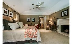 Love- bedding, fireplace, vaulted ceiling, paint color