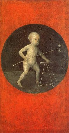 Christ Child wath a Walking Frame by Hieronymus Bosch (ca. 1500). There is something quite gripping about this painting.