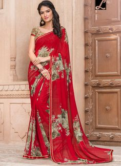 InwroughtRed Georgette Saree