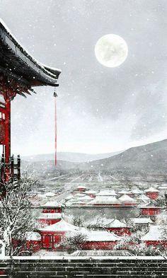 Snow scene , chinese palace illustration 伊吹鸡腿子 's Weibo_Weibo Chinese Landscape, Fantasy Landscape, Landscape Art, Fantasy Anime, Fantasy Art, Arte 8 Bits, Art Asiatique, Chinese Architecture, Wow Art