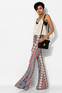 Raga Print-Mix Bell Flare Pant - Urban Outfitters xs $84
