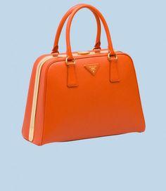 "Prada ""Pyramid"" saffiano calf leather Spring hinge bag | All Handbag Fashion"