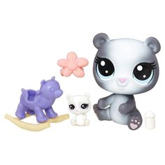 Littlest Pet Shop Aila Rockingham & Pandin Rockingham. Sweet mommy-and-baby pair. Baby pet can nestle with mommy pet or in an accessory. Great addition to any LPS collection. Includes Classic scale pet, Teensie scale pet, and 3 accessories. Lps Littlest Pet Shop, Little Pet Shop Toys, Little Pets, Happy Animals, Cute Animals, Dolls And Daydreams, Lps Toys, Baby Alive Dolls, Mlp My Little Pony